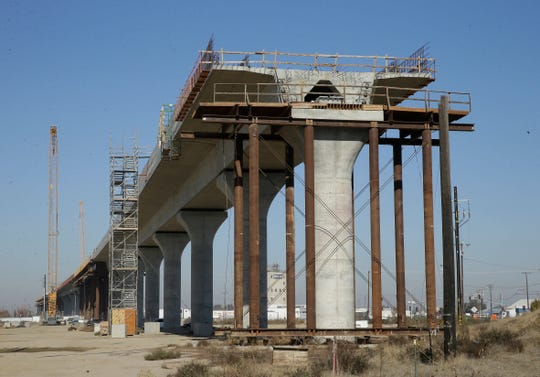 An elevated section of the high-speed rail under construction in Fresno, California.