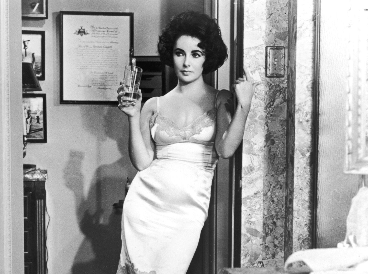 Elizabeth Taylor in a slip in 'Butterfield 8' from 1961.