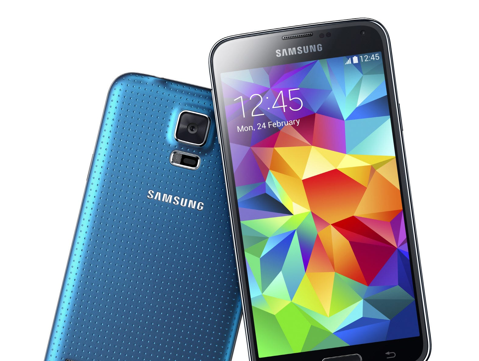 The Samsung Galaxy S5 smartphone was announced in February 2014. It featured a plastic, water resistant design, 5.1-inch screen and 16 megapixel rear camera. It also was the first Galaxy S phone with a heart rate monitor.
