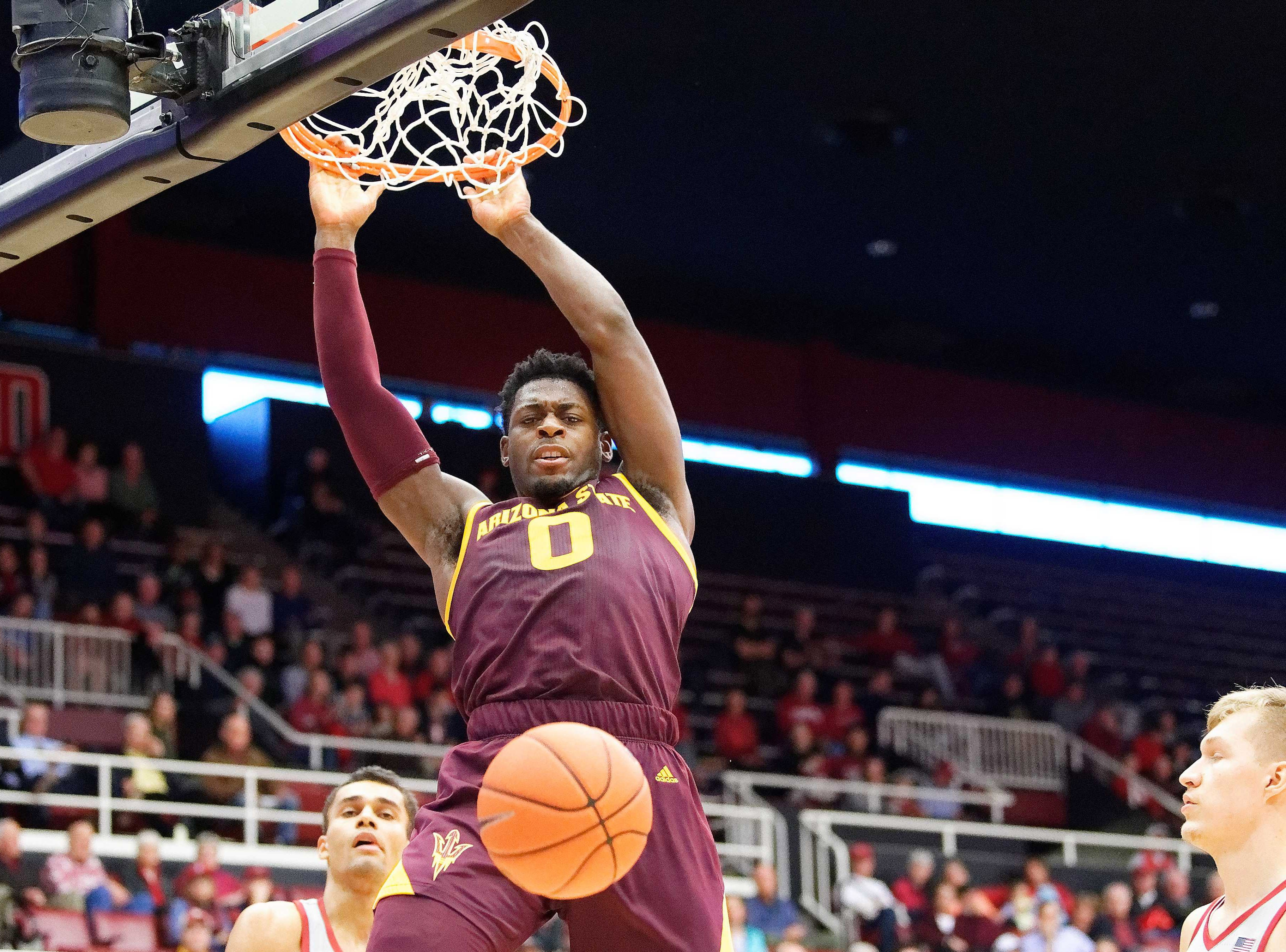 Jan. 12: Arizona State Sun Devils guard Luguentz Dort (0) dunks the basketball in the first half against the Stanford Cardinal at Maples Pavilion.