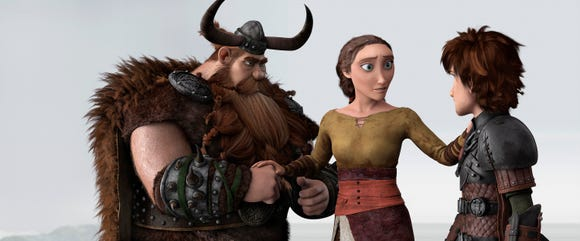 "Valka (voiced by Cate Blanchett, center) reunites with husband Stoick (Gerard Butler) and son Hiccup (Jay Baruchel) in ""How to Train Your Dragon 2."""