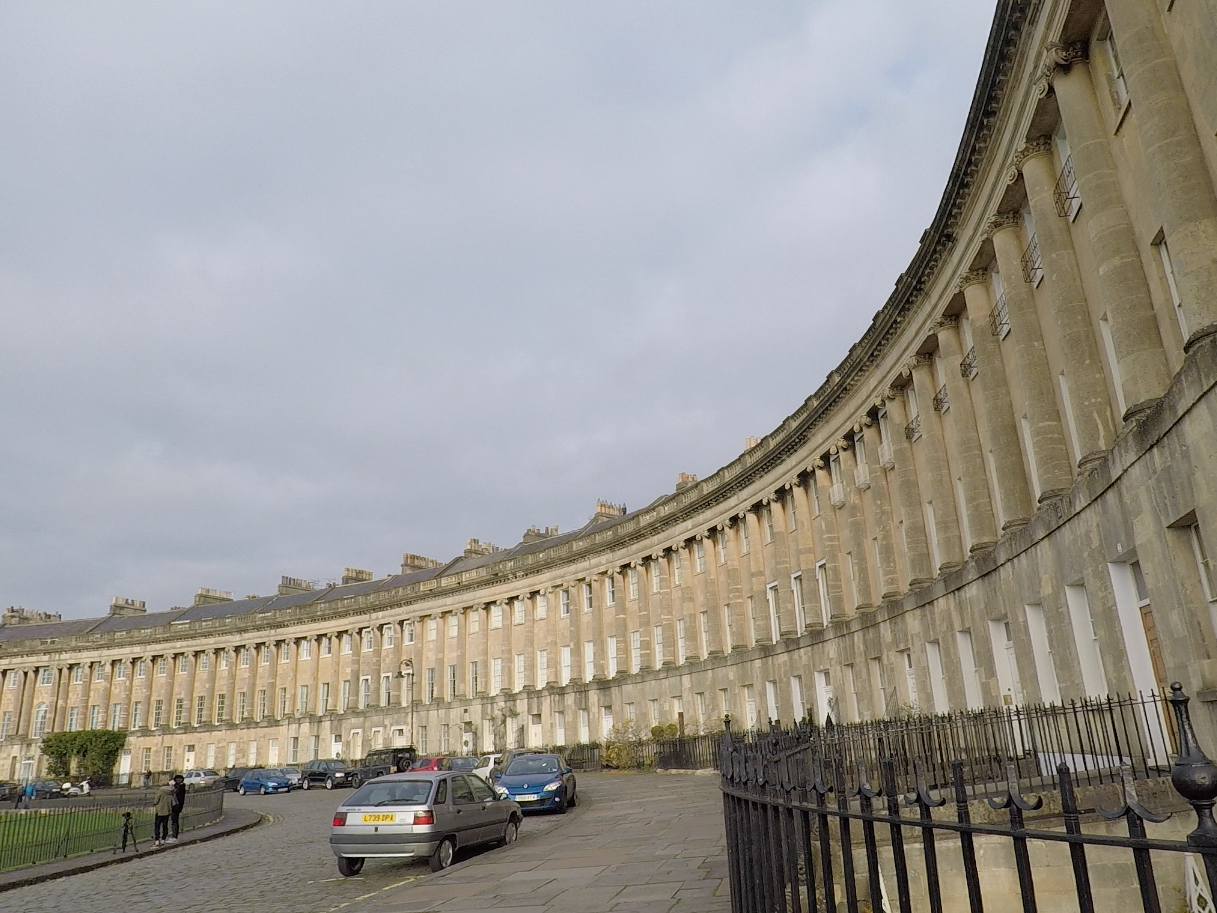 The Royal Crescent was built in 1774, and is considered one of the finest examples of Georgian architecture in the United Kingdom.