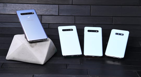 From (l-r): Samsung Galaxy S10 5G , Galaxy S10+, Samsung Galaxy S10, and Galaxy S10E. With a 6.7-inch screen and four rear cameras, the S10 5G is the largest of the new S10 line and Samsung's first 5G Galaxy S phone.