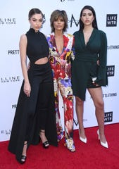Lisa Rinna, center, and her daughters Delilah Belle Hamlin, from left, and Amelia Gray Hamlin arrive at the Daily Front Row's Fashion Los Angeles Awards at the Beverly Hills Hotel on Sunday, April 8, 2018, in Beverly Hills, Calif.