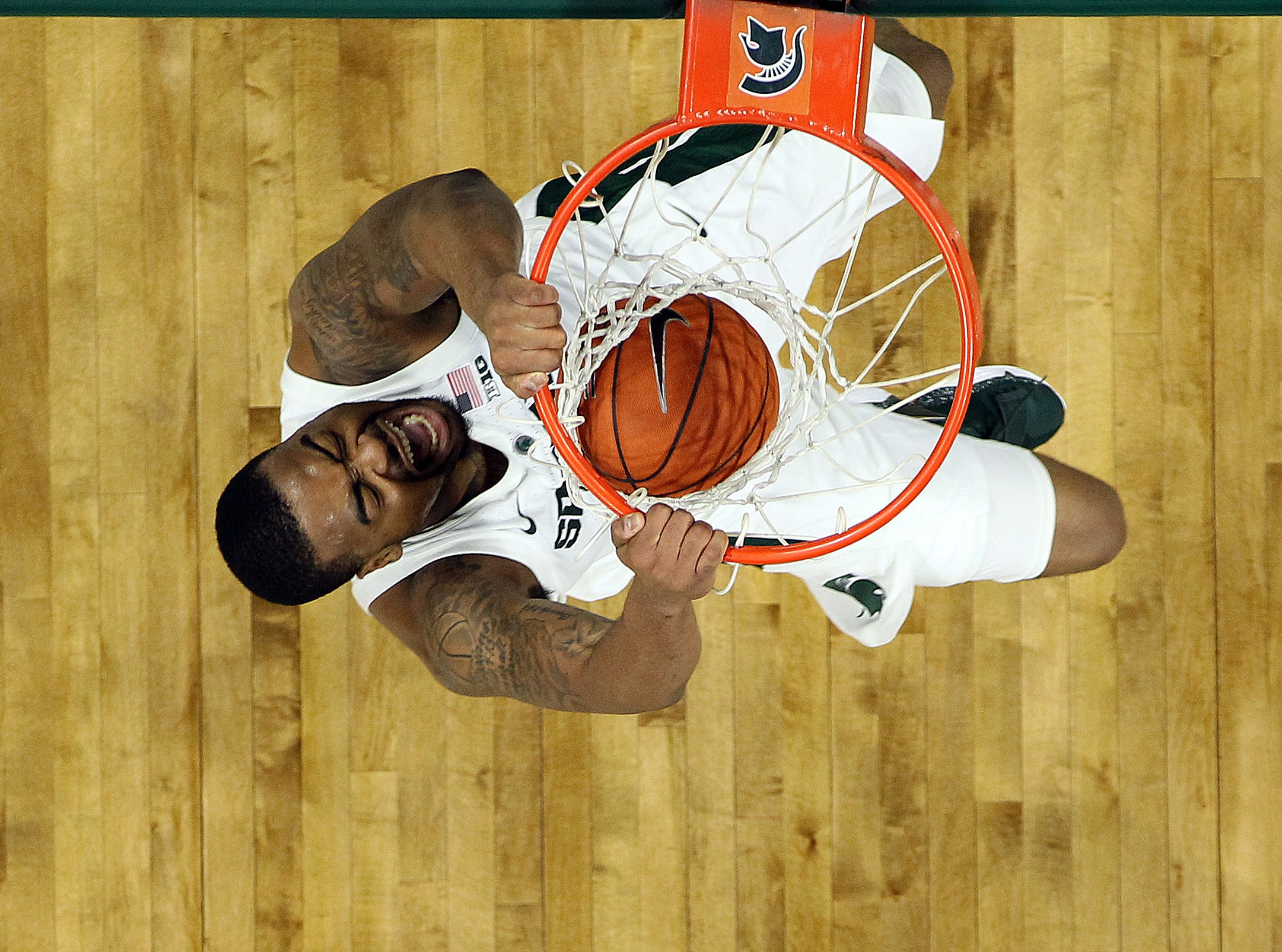 Jan. 2: Michigan State Spartans forward Nick Ward (44) dunks the ball during the first half of a game against the Northwestern Wildcats at the Breslin Center.