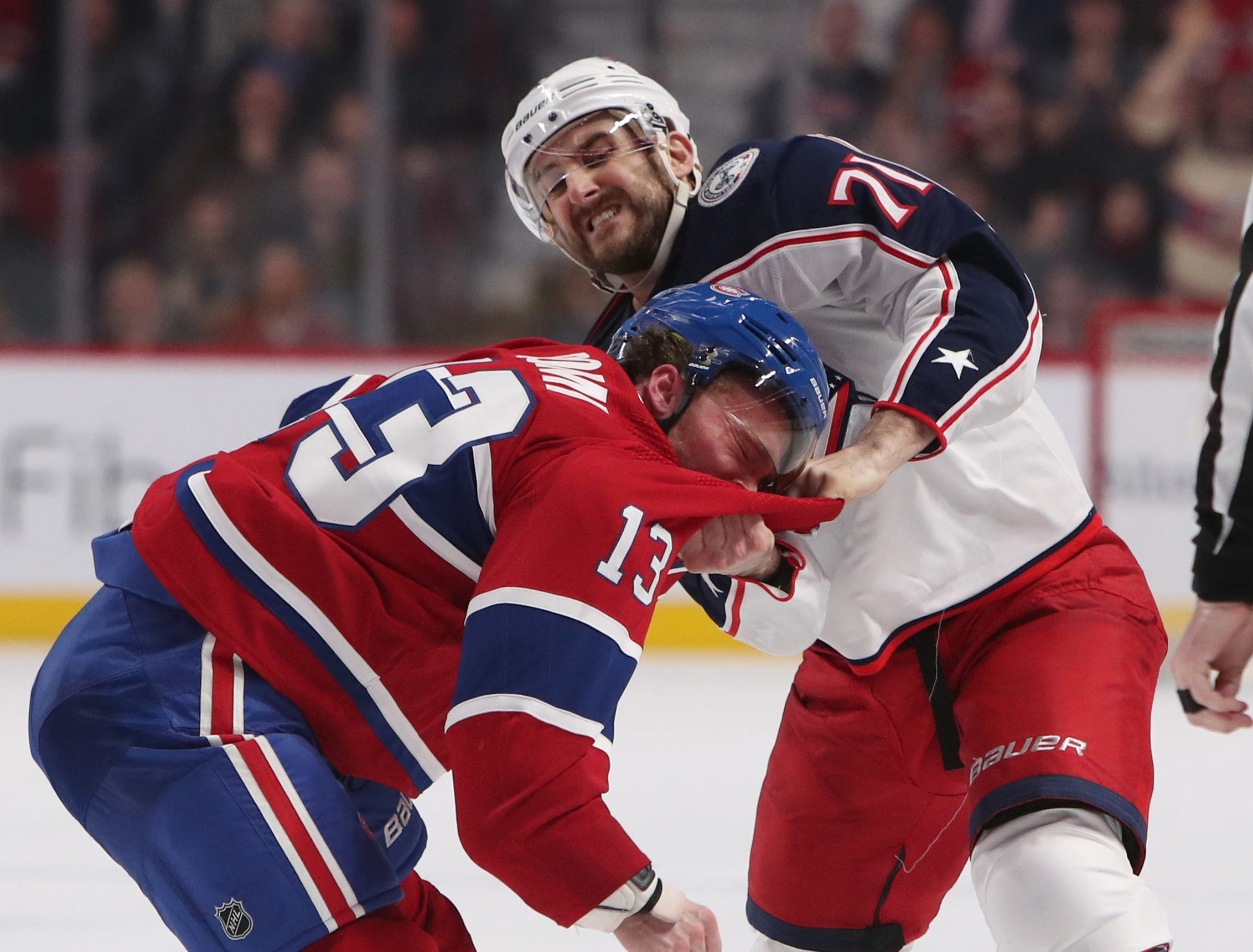 Feb. 19: Montreal Canadiens' Max Domi vs. Columbus Blue Jackets' Nick Foligno