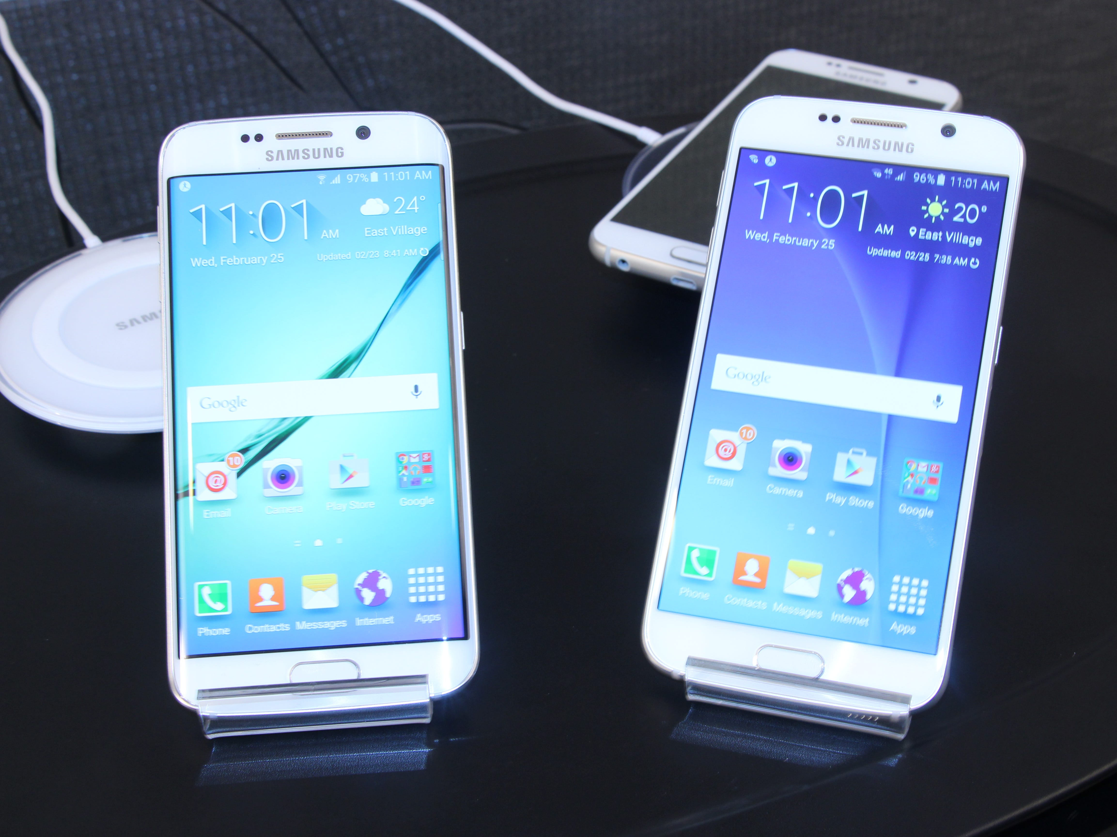 Announced in February 2015, Samsung's Galaxy S6 came in two varieties: a traditional S6, right, and a curved S6 Edge. Switching to a glass design, the phone had a sharper screen and improved camera, but removed features like water resistance and a removable battery.