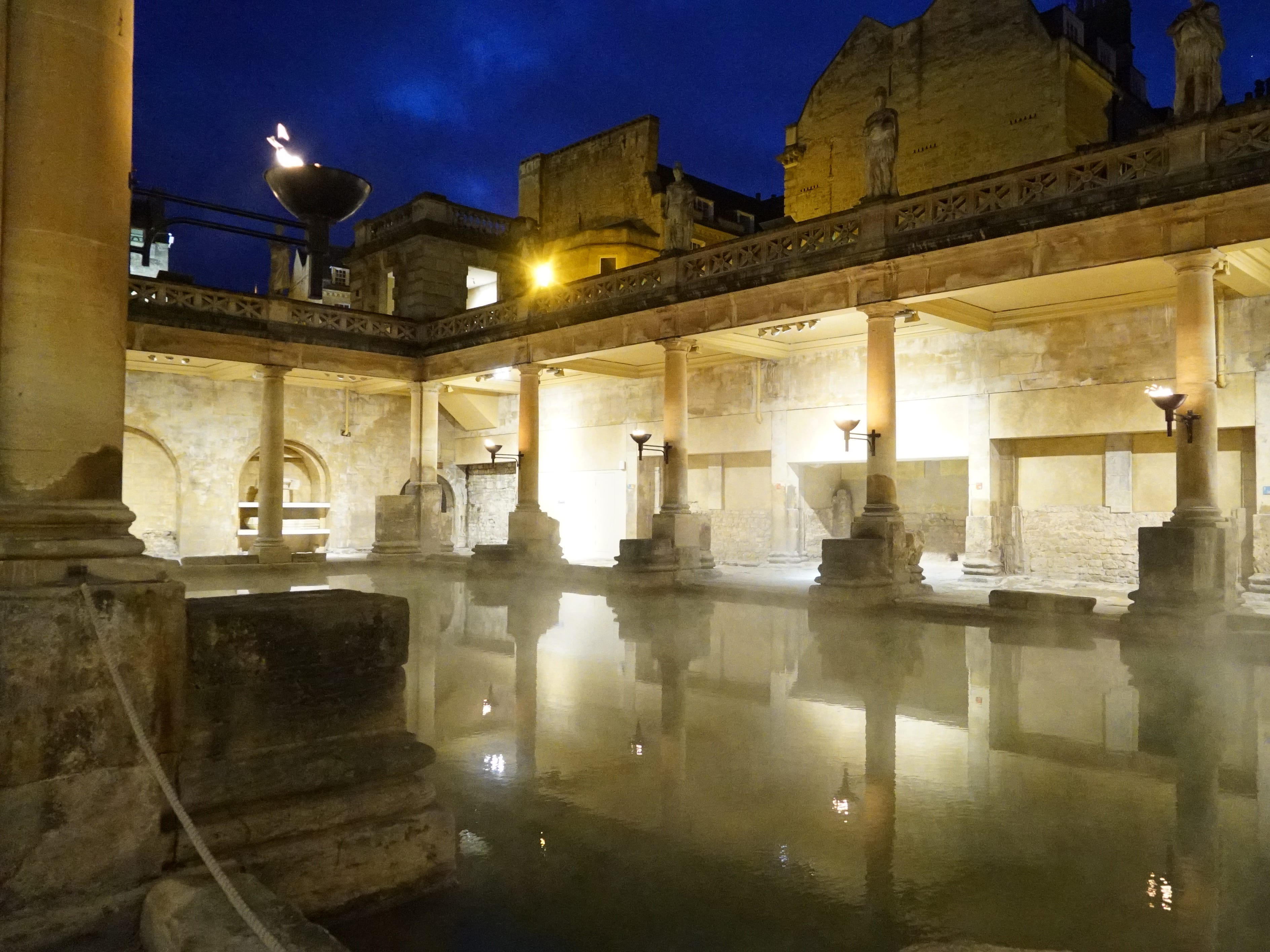 The Roman Baths were built over a natural hot spring, and in the predawn hours, you can see the steam rising over this historic site.
