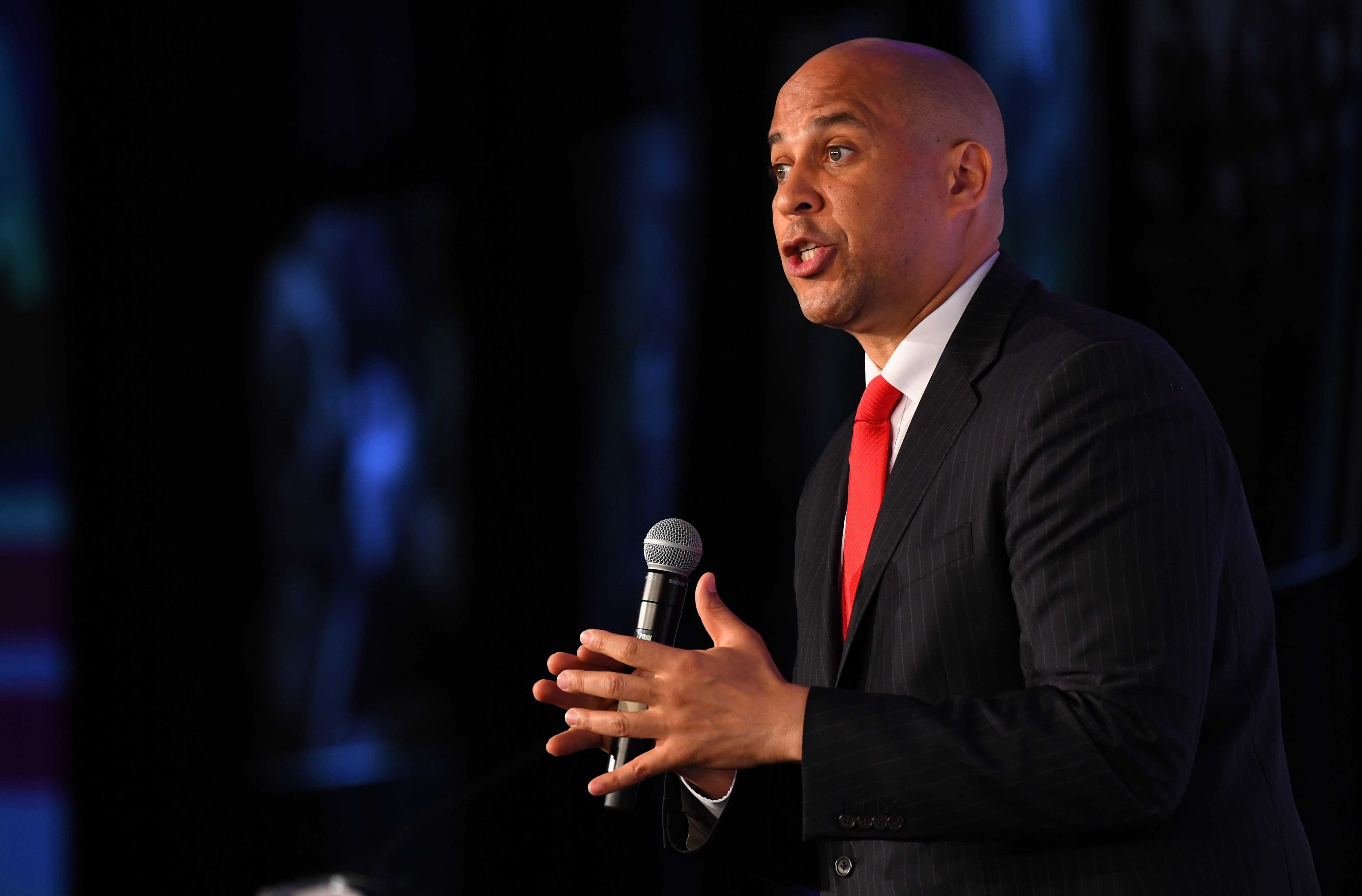 Sen. Cory Booker, D-N.J., announces he is running for president on Feb. 1, 2019.