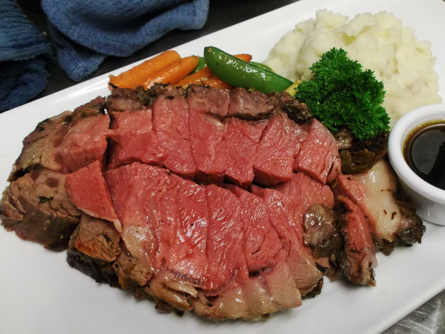 Most of the food has Hawaiian roots, but they specialize in other large grilled meat plates, such as this perfectly cooked prime rib.