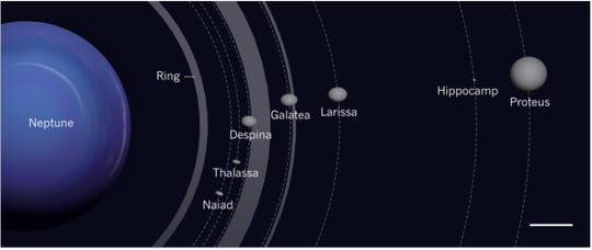 The inner moons of Neptune. Shown here is the location of Hippocamp, compared with those of Neptune's rings and other inner moons. The relative sizes of the moons are accurate; however, the moons have been enlarged with respect to their orbits by a factor of 20, to highlight the small size of Hippocamp. The scale bar (lower right) is 6,200 miles.