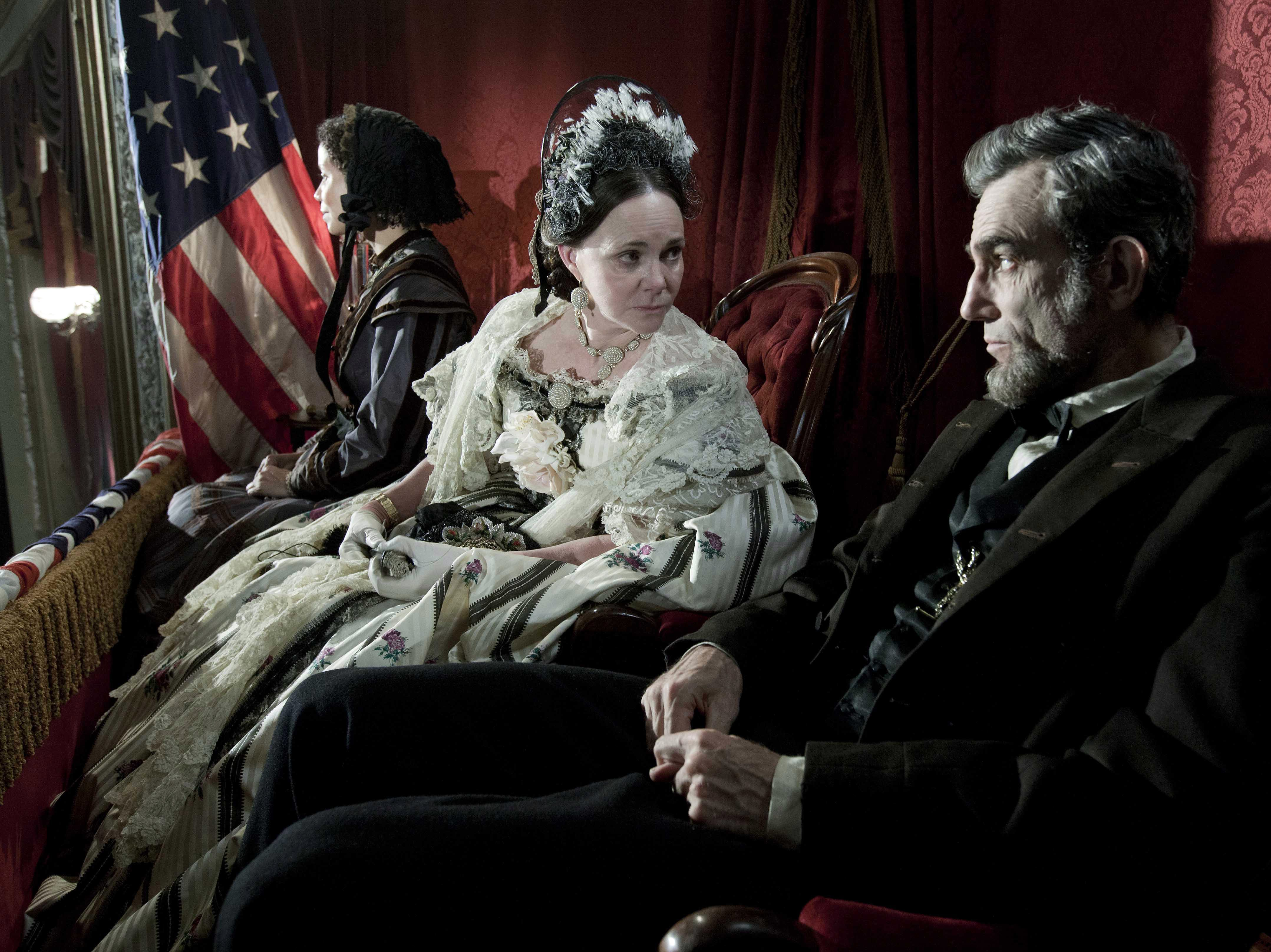"""EDS NOTE: NOT THE ASSASSINATION SCENE  Gloria Reuben as Elizabeth Keckley, Sally Field as Mary Todd Lincoln and Daniel Day-Lewis as Abraham Lincoln in a scene from the motion picture """"Lincoln."""""""