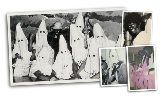 A photograph in the 1979 Rochester Institute of Technology yearbook shows nine people in Klan robes posing with a tenth person who could be African-American or a white person wearing blackface.