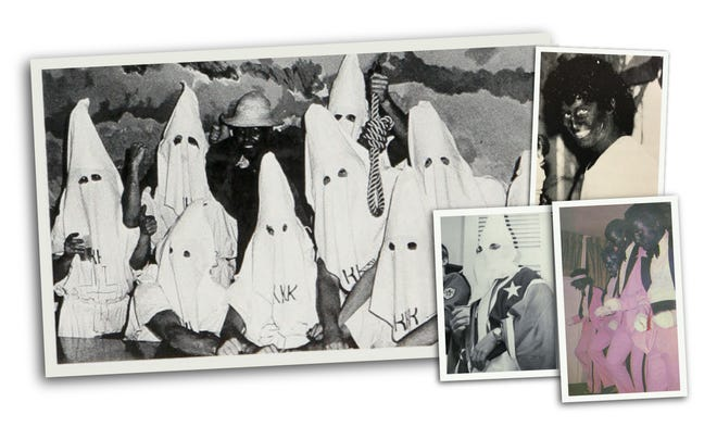 A photograph in the 1979Rochester Institute of Technology yearbook shows nine people in Klan robesposing with a tenth person who couldbeAfrican-American or a white personwearing blackface.