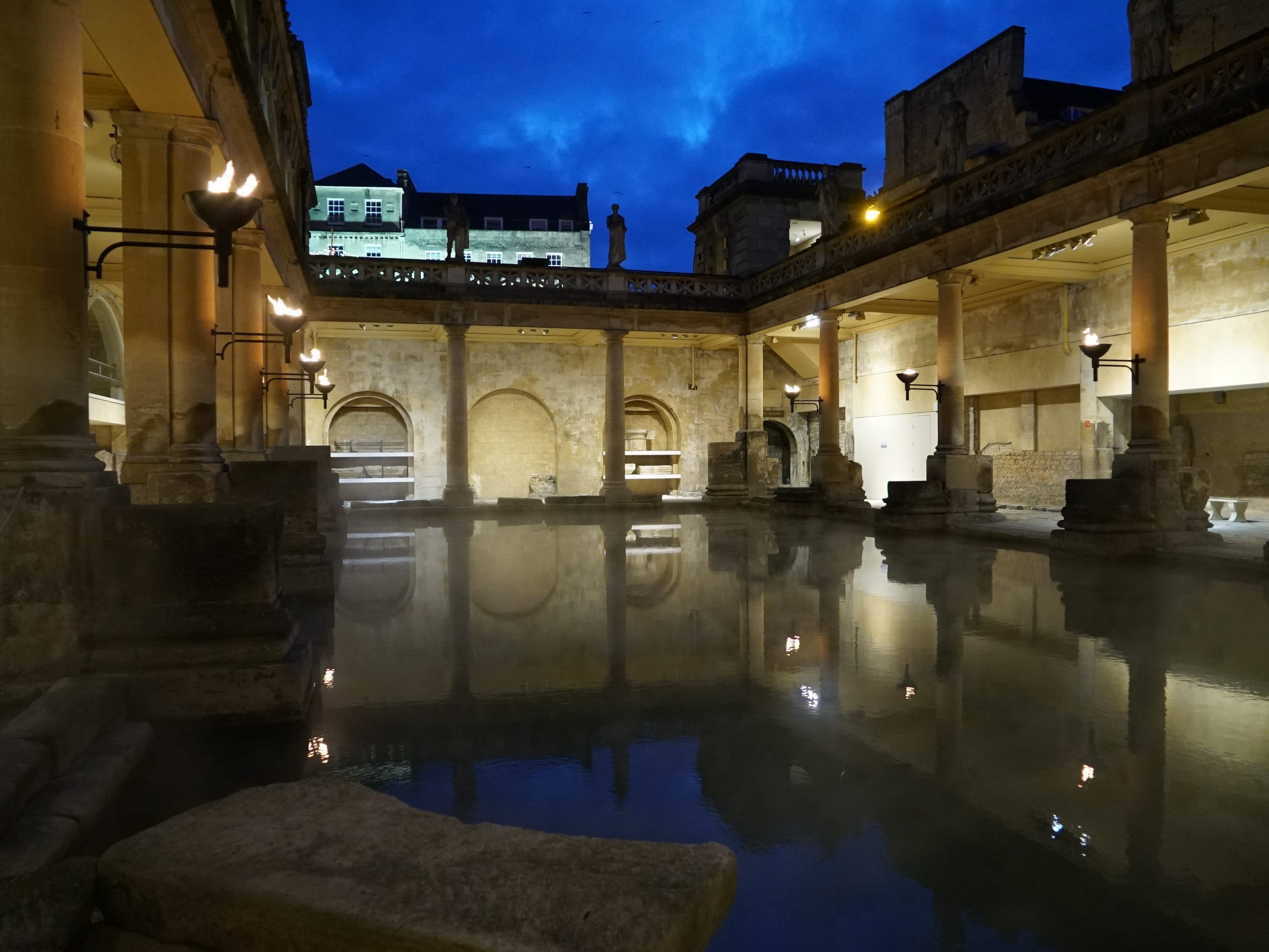 The lower portions of the Roman Baths are ancient, while the frilly touches above are Victorian.