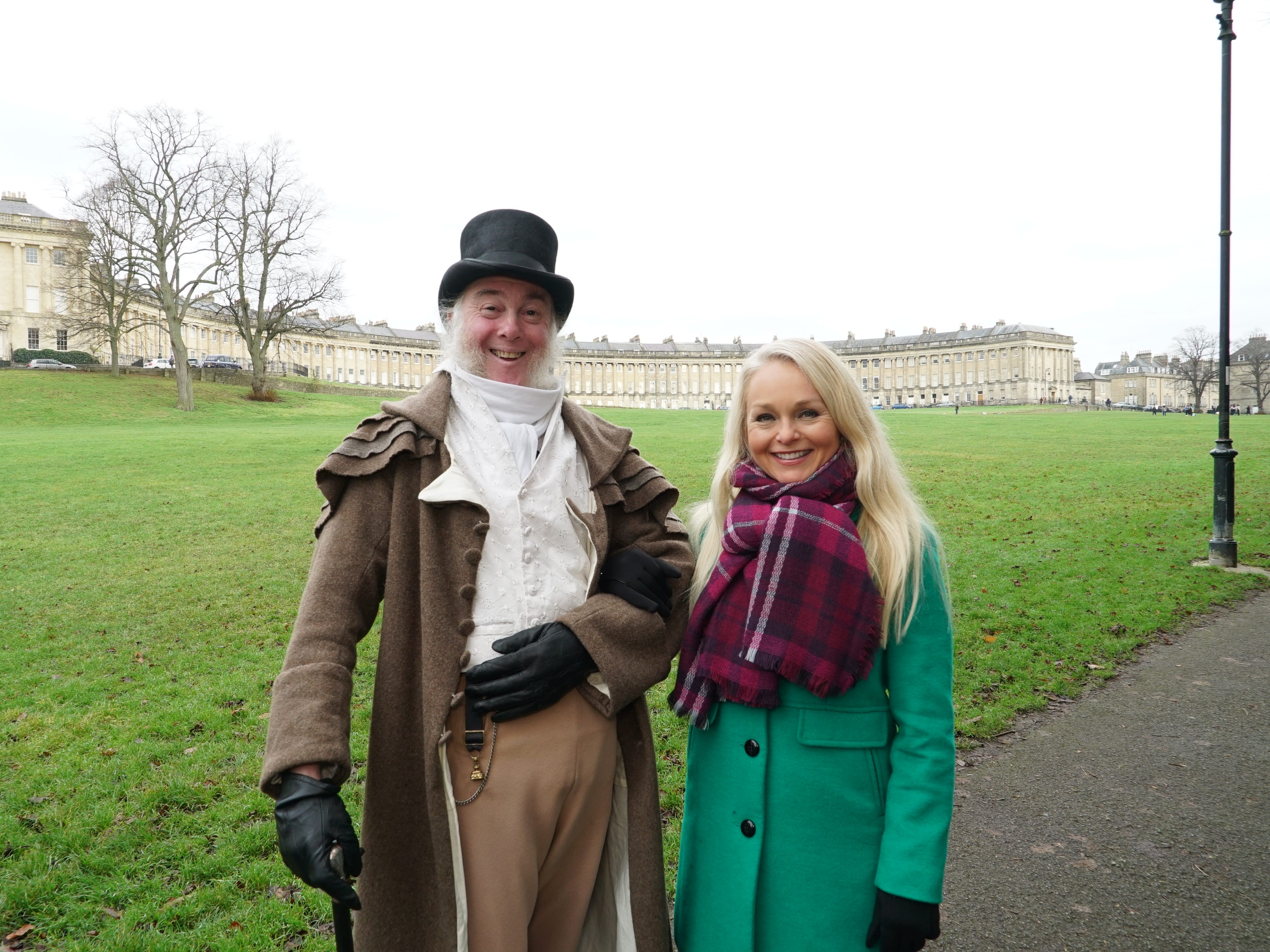 """""""The most photographed man in England"""", Martin Salter, the greeter at Bath's Jane Austen Centre."""