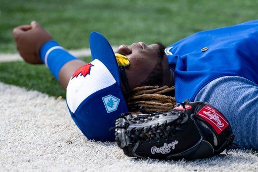 Feb. 20: Blue Jays infielder Vladimir Guerrero Jr. stretches during workouts.