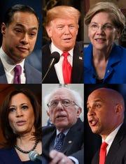 Julian Castro, President Donald Trump, Elizabeth Warren, Kamala Harris, Bernie Sanders, Cory Booker.
