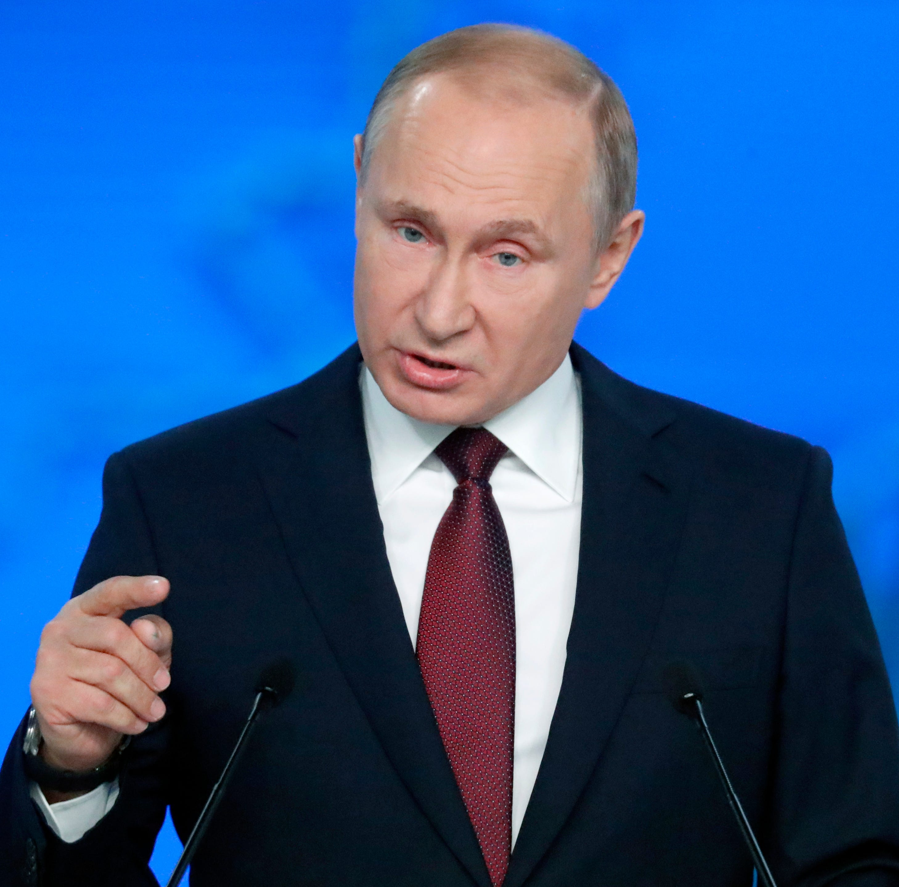 Russian President Vladimir Putin delivers his annual Address to the Federal Assembly at Gostinny Dvor in Moscow, Russia, February 20 2019.