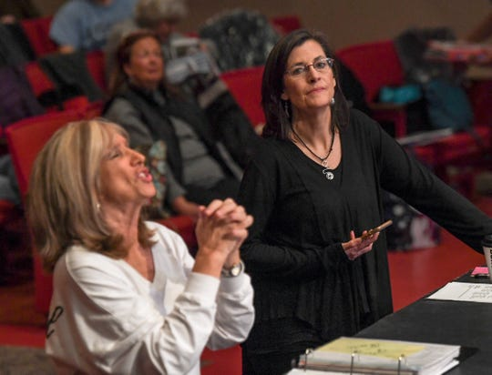 "Annette Martin, left, directs Anderson Senior Follies, with incoming director Mary Nickles, right, the 30th year at the Anderson University Fine Arts Center's Henderson Auditorium in February. The show, a song, dance, and comedy performance named ""A Class Act"" plays March 14-17 at the auditorium. Martin said the show is a whimsical look at being a senior, with vintage, patriotic, and classy people."