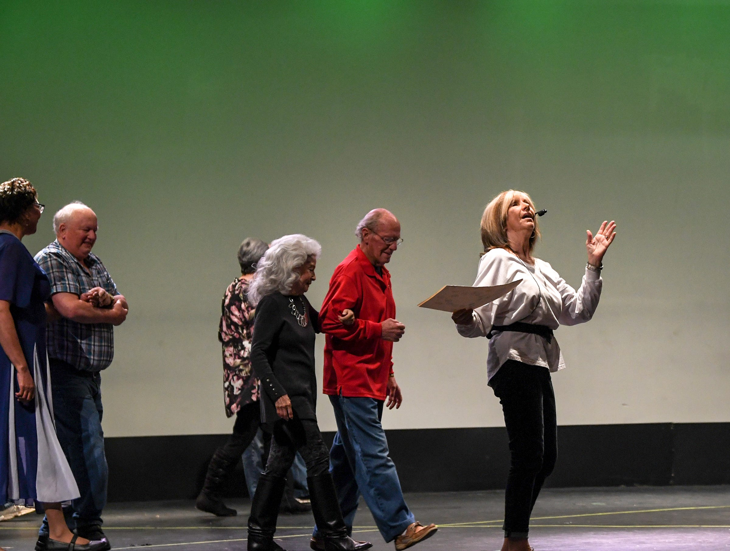 """Annette Martin, right, directs Anderson Senior Follies, in their 30th year at the Anderson University Fine Arts Center's Henderson Auditorium in February. The show, a song, dance, and comedy performance named """"A Class Act""""  is led by retiring director Martin and incoming director Mary Nickles. Martin said the show is a whimsical look at being a senior, with vintage, patriotic, and classy people."""