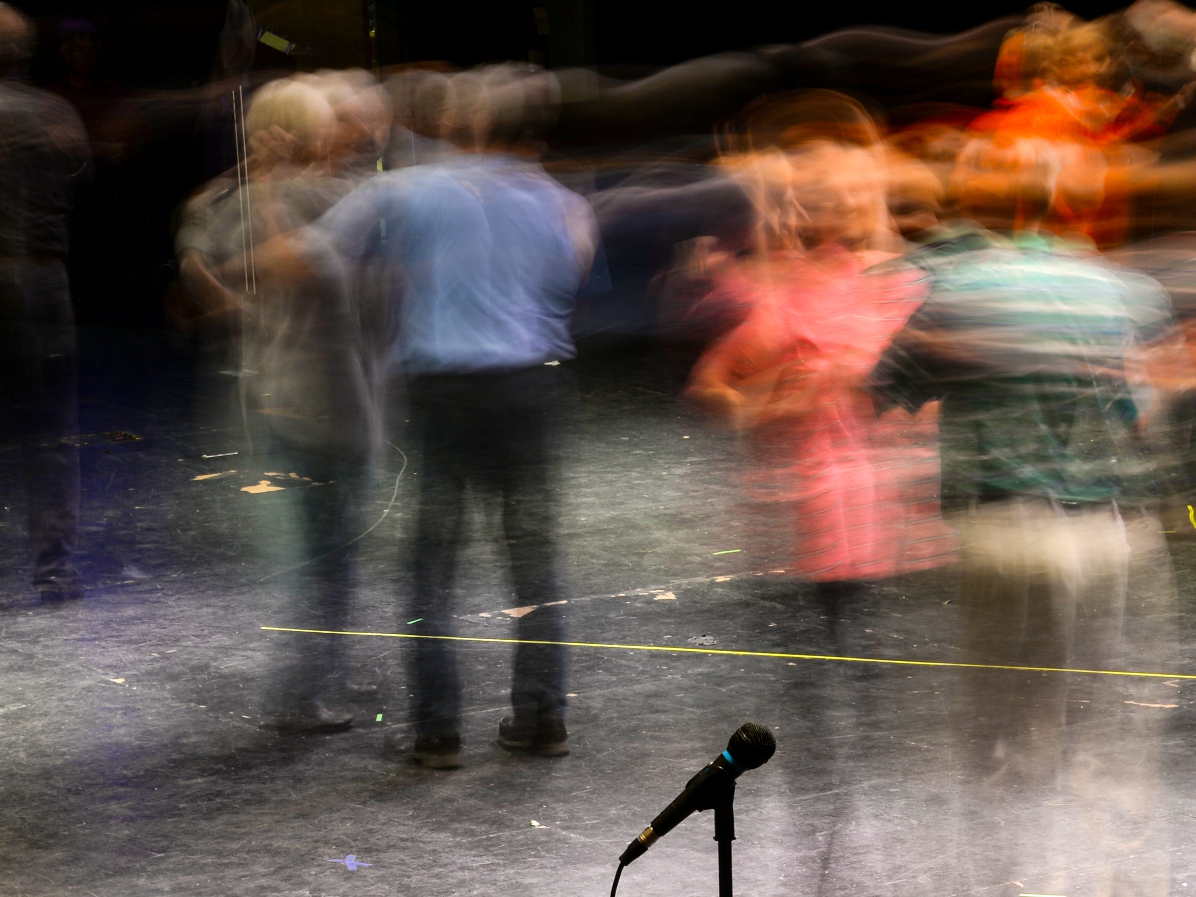 "Seen with a slow camera shutter speed for photographic effect, the Anderson Senior Follies performers rehearse ""Conga"" by Gloria Estefan and the Miami Sound Machine, at the Anderson University Fine Arts Center's Henderson Auditorium in February. The show titled ""A Class Act"" is led by retiring director Annette Martin and incoming director Mary Nickles. Martin said the show is a whimsical look at being a senior, with vintage, patriotic, and classy people. The five shows are at the auditorium March 14-17, 2019."
