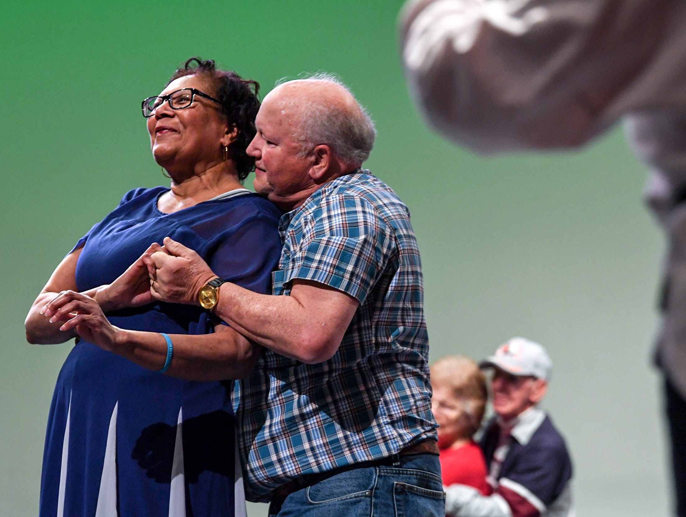 "Claudia Cannon, left, and Richard Polsdorfer practice dancing to Michael Buble song ""The Way You Look Tonight"" with fellow Anderson Senior Follies performers at the Anderson University Fine Arts Center's Henderson Auditorium in February. The show, a song, dance, and comedy performance named ""A Class Act""  is led by retiring director Martin and incoming director Mary Nickles. Martin said the show is a whimsical look at being a senior, with vintage, patriotic, and classy people."