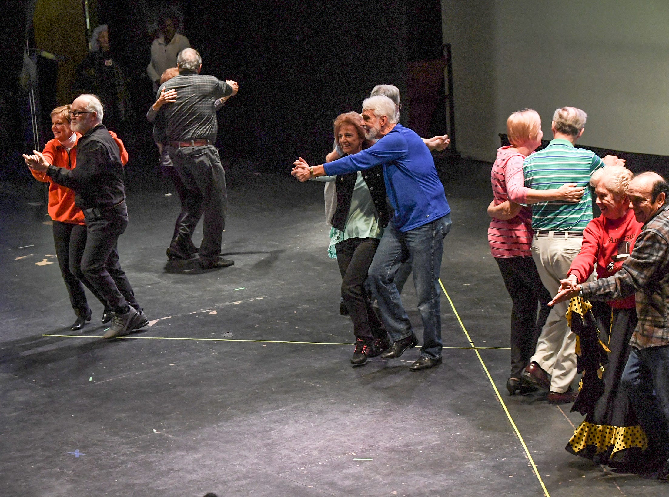 "Anderson Senior Follies performers rehearse ""Conga"" by Gloria Estefan and the Miami Sound Machine, at the Anderson University Fine Arts Center's Henderson Auditorium in February. The show titled ""A Class Act"" is led by retiring director Annette Martin and incoming director Mary Nickles. Martin said the show is a whimsical look at being a senior, with vintage, patriotic, and classy people. The five shows are at the auditorium March 14-17, 2019."
