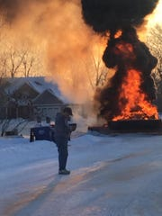 A Winnebago County snowplow is on fire in a early morning blaze on Terra Cotta Court in the Town of Neenah. Firefighters put out the fire and no one was injured.
