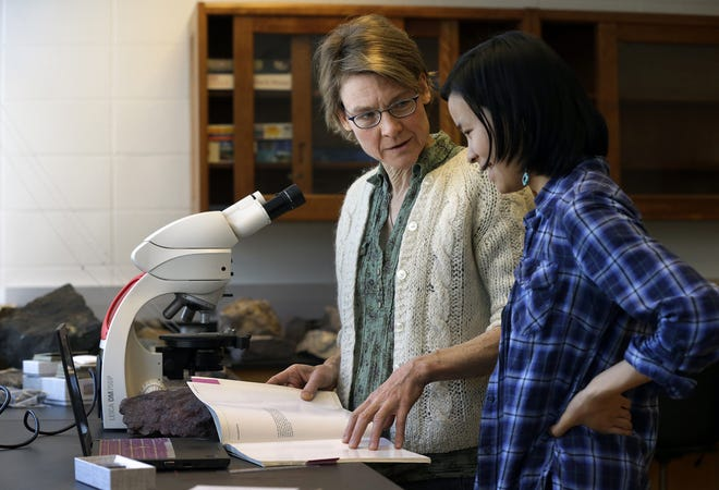 Lawrence University geology professor Marcia Bjornerud, left, with a student in 2016.