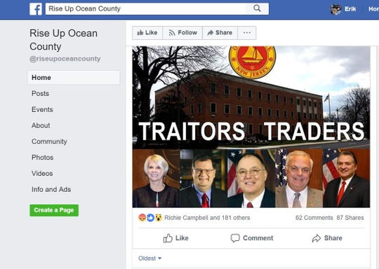 The anonymous administrators behind the Rise Up Ocean County Facebook group responded Wednesday night to the freeholder board's resolution earlier in the evening to oppose and condemn its mystery creator(s).