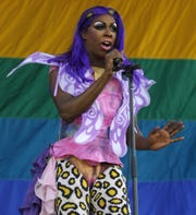 Honey Davenport, pictured on stage at the 2012 Jersey Pride festival in Asbury Park.