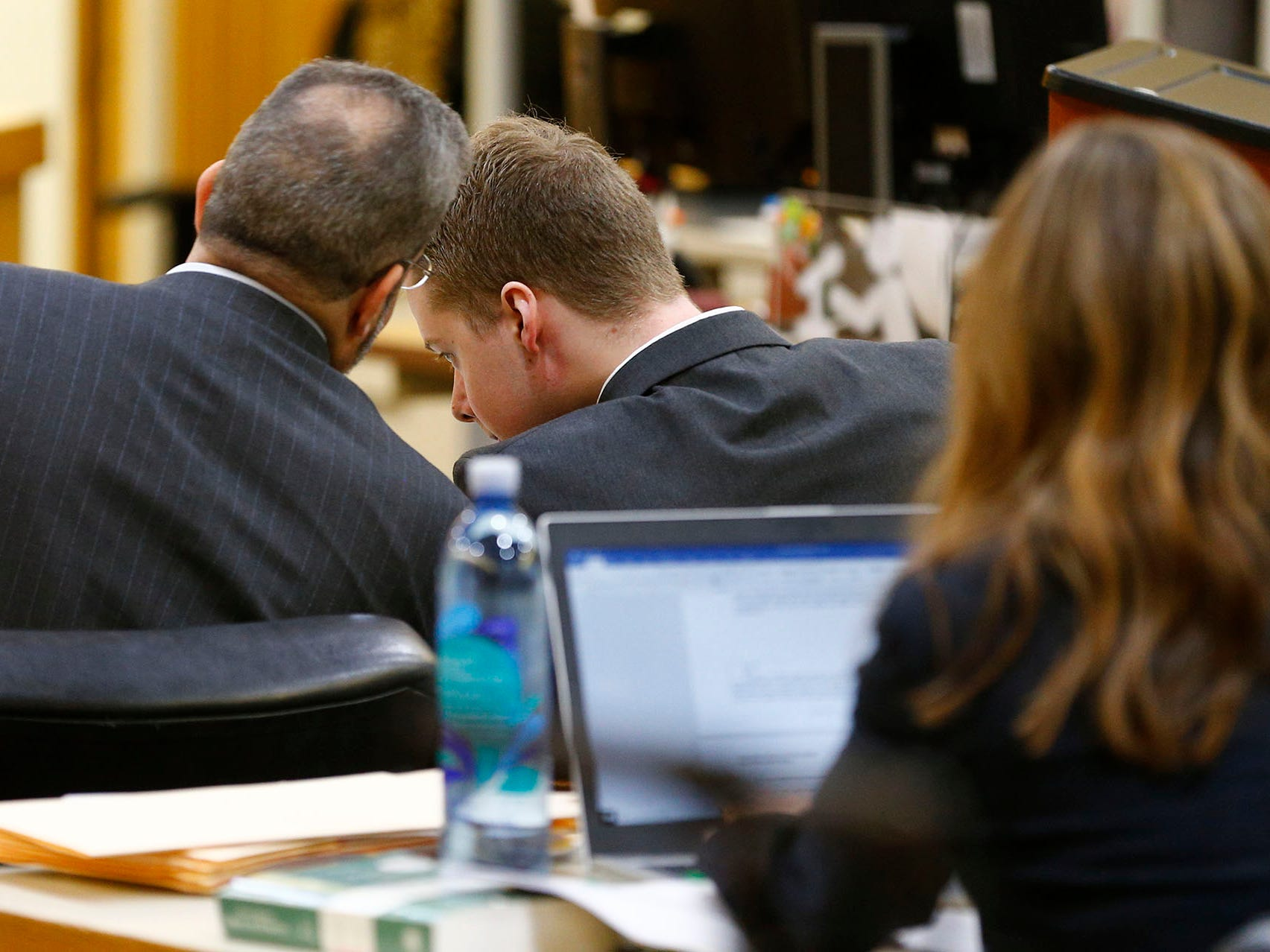 Defense attorney Carlos Diaz-Cobo (left) confers with his client Liam McAtasney in State Superior Court Judge Richard English's courtroom Thursday, February 21, 2019.  McAtasney is on trial on charges that he murdered Sarah Stern in 2016.