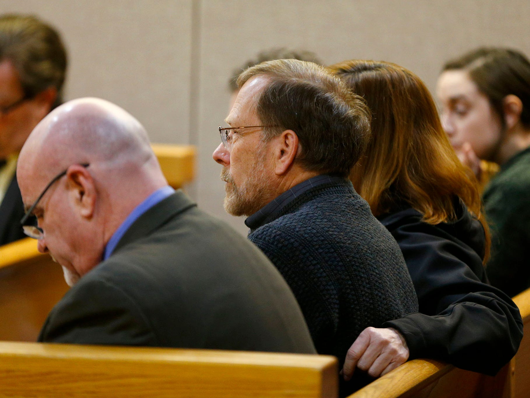 Sarah Stern's father Michael Stern listens in State Superior Court Judge Richard English's courtroom Thursday, February 21, 2019, as the trial continues for Liam McAtasney charged with her death in 2016.
