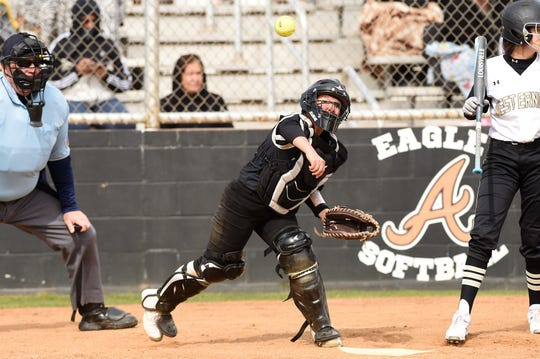 Abilene High catcher Hannah Lopez (9) throws behind a Lubbock High runner at first base in the Abilene Ice Breaker on  Feb. 21.
