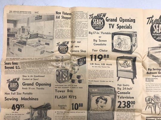 A 20-page supplement to the Abilene Reporter-News advertised many specials for the grand opening of the new Sears at South First Street and Sayles Boulevard on Sept. 18, 1957.