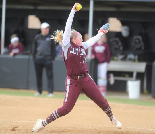 Brownwood's Chyanne Ellett winds up for a pitch Thursday, Feb. 21, 2019, against Hawley in an Ice Breaker tournament game.