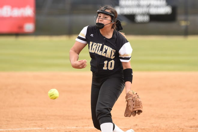 Abilene High pitcher Kaylen Washington (10) had two complete-game victories in impressive fashion this past week, including a shutout. Washington allowed just one run in 14 innings and struck out 19 to earn Local Player of the Week honors.