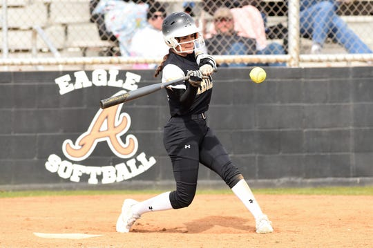 Abilene High's Aubrianna Salazar (12) takes a swing against Lubbock High in the Abilene Ice Breaker on Thursday, Feb. 21, 2019.