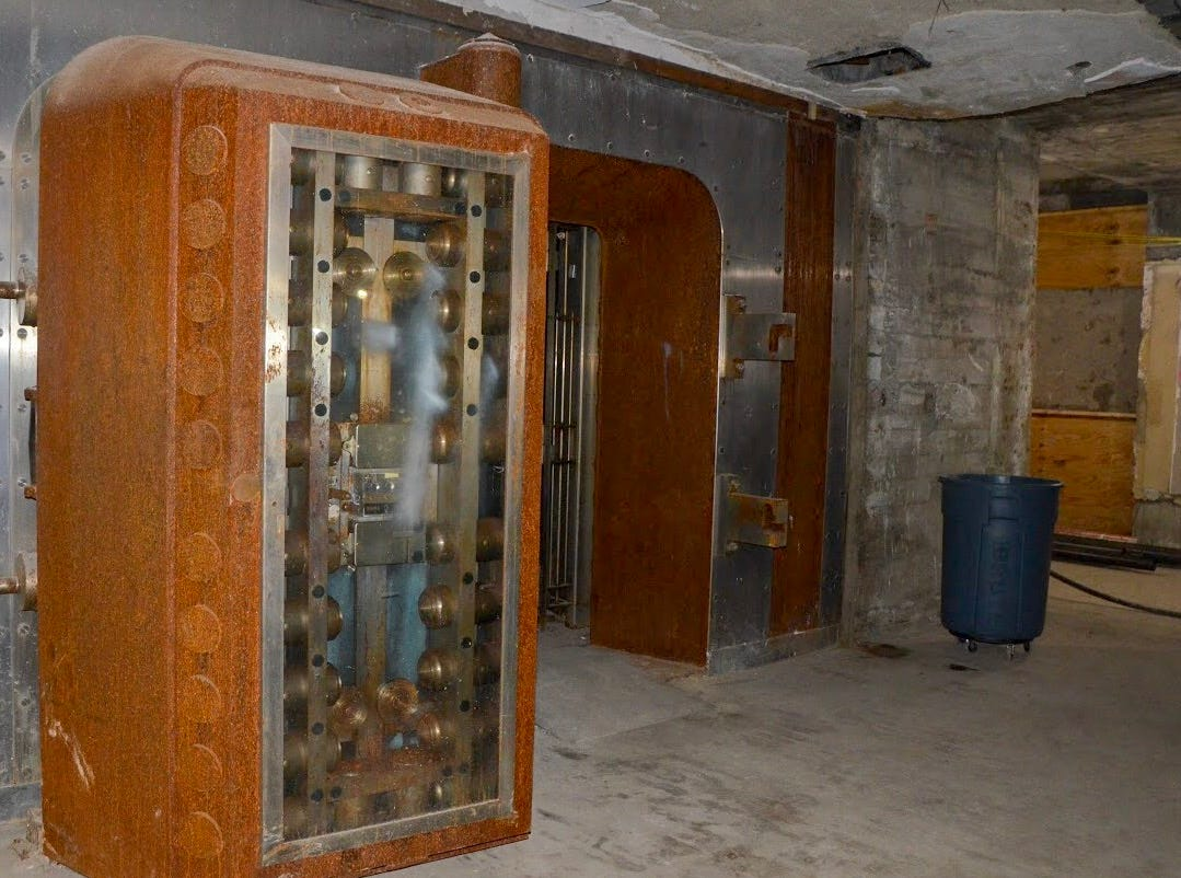What was previously a bank vault for safety deposit boxes will be turned into a recreation area, according to Mark Harmsen, president of MDH Development, which is handling the Heritage Tower project.