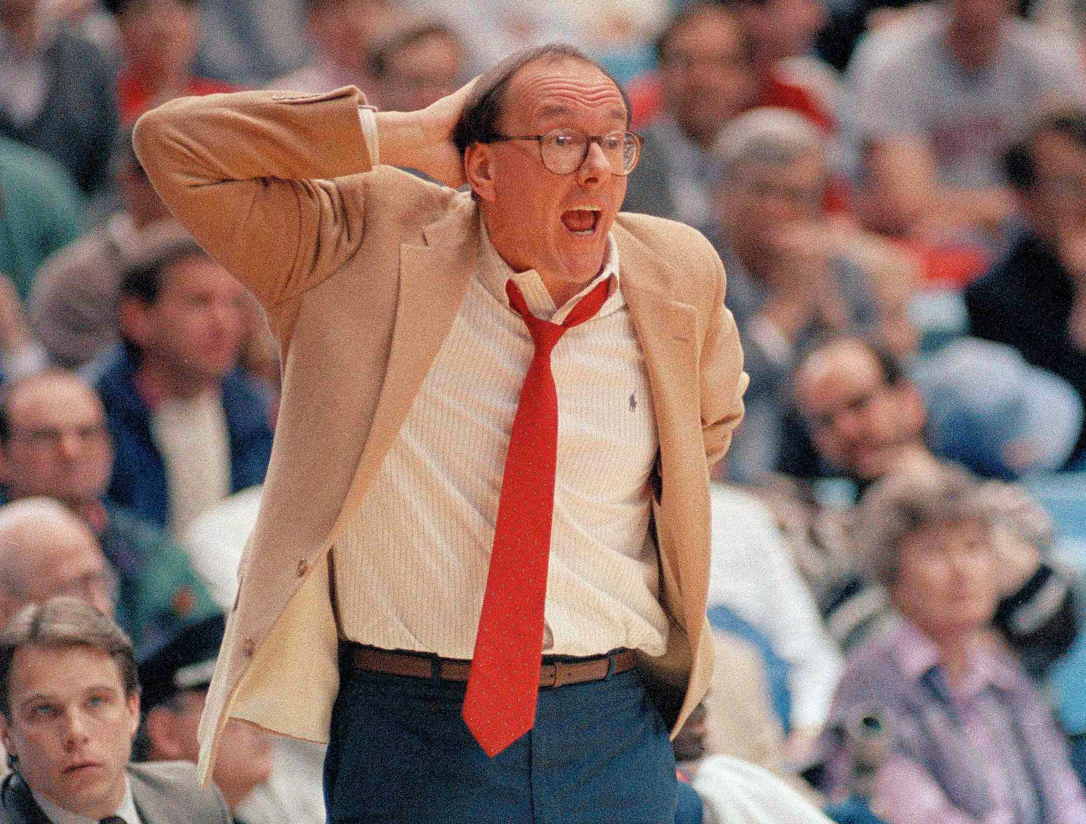 1988: Syracuse coach Jim Boeheim yells to the Orangemen during their second round NCAA East Regional game against Rhode Island in Chapel Hill, N.C., March 19, 1988. The Rams upset the Orangemen 97-94. (AP Photo/Scott Stewart)