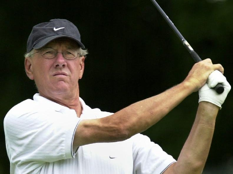 2004: Syracuse University Basketball Coach Jim Boeheim watches his shot from the 11th fairway during the Pro-Am Wednesday at the B.C. Open.