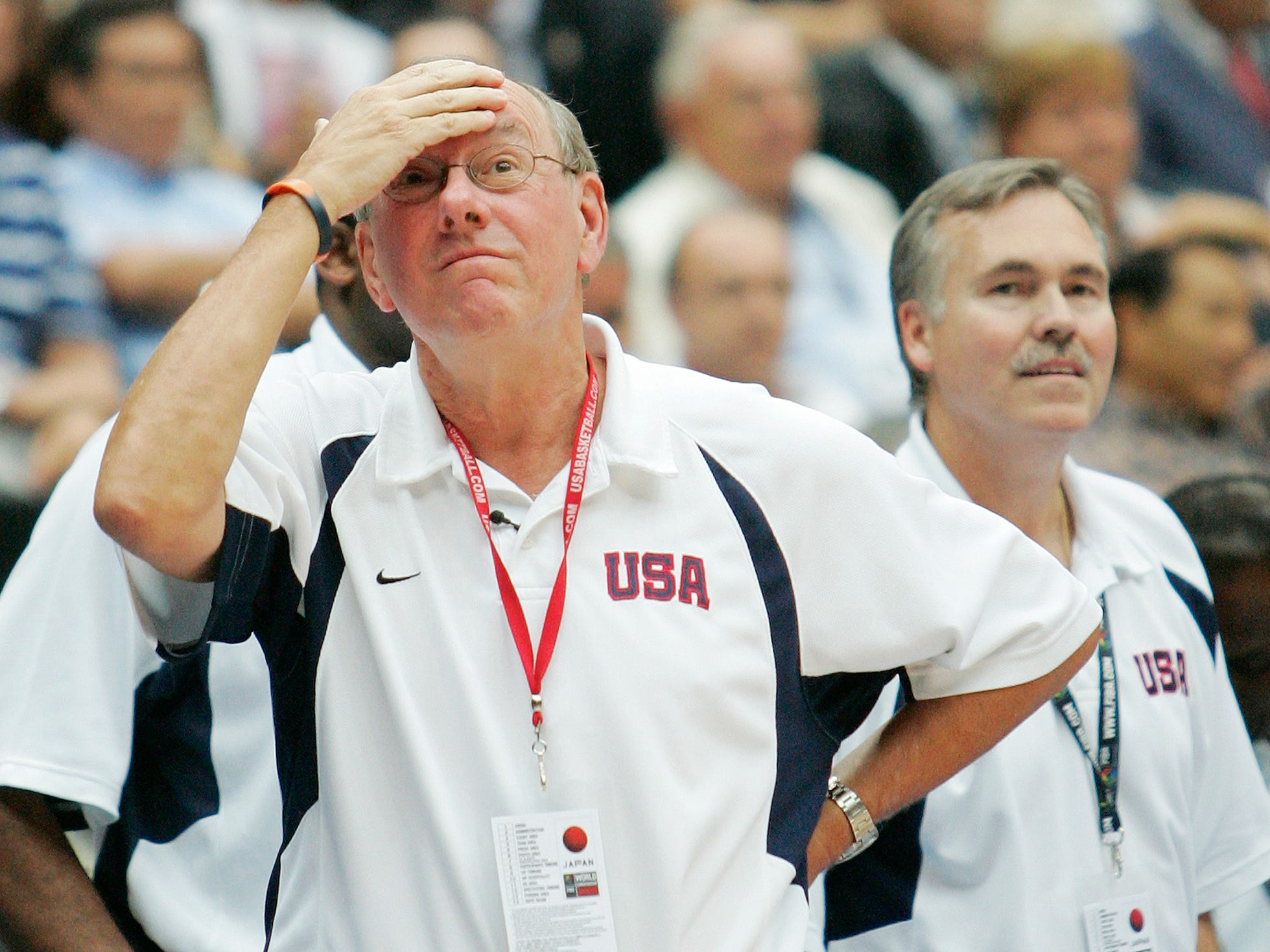 2006: USA assistant coach Jim Boeheim, left, looks up toward the scoreboard as assistant coach Mike D'Antoni look on in the closing seconds against Greece in  the semifinals of the World Basketball Championships in Saitama, Japan, Friday, Sept. 1, 2006. (AP Photo/Mark J. Terrill)