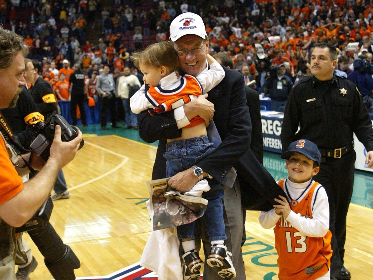 2003: Syracuse men's basketball coach Jim Boeheim, shown with his two sons, has enjoyed one of his most successful seasons. He is making his third appearance in the Final Four.