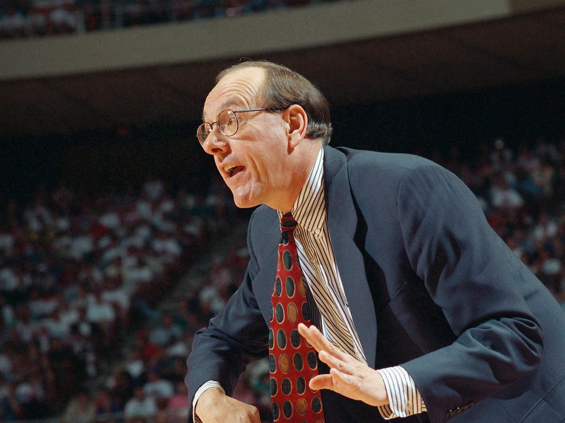 1995: Syracuse coach Jim Boeheim watches as his team faces Arkansas in the second round of the NCAA Midwest Regional, Sunday, March 19, 1995, Austin, Tex. (AP Photo/David J. Phillip)