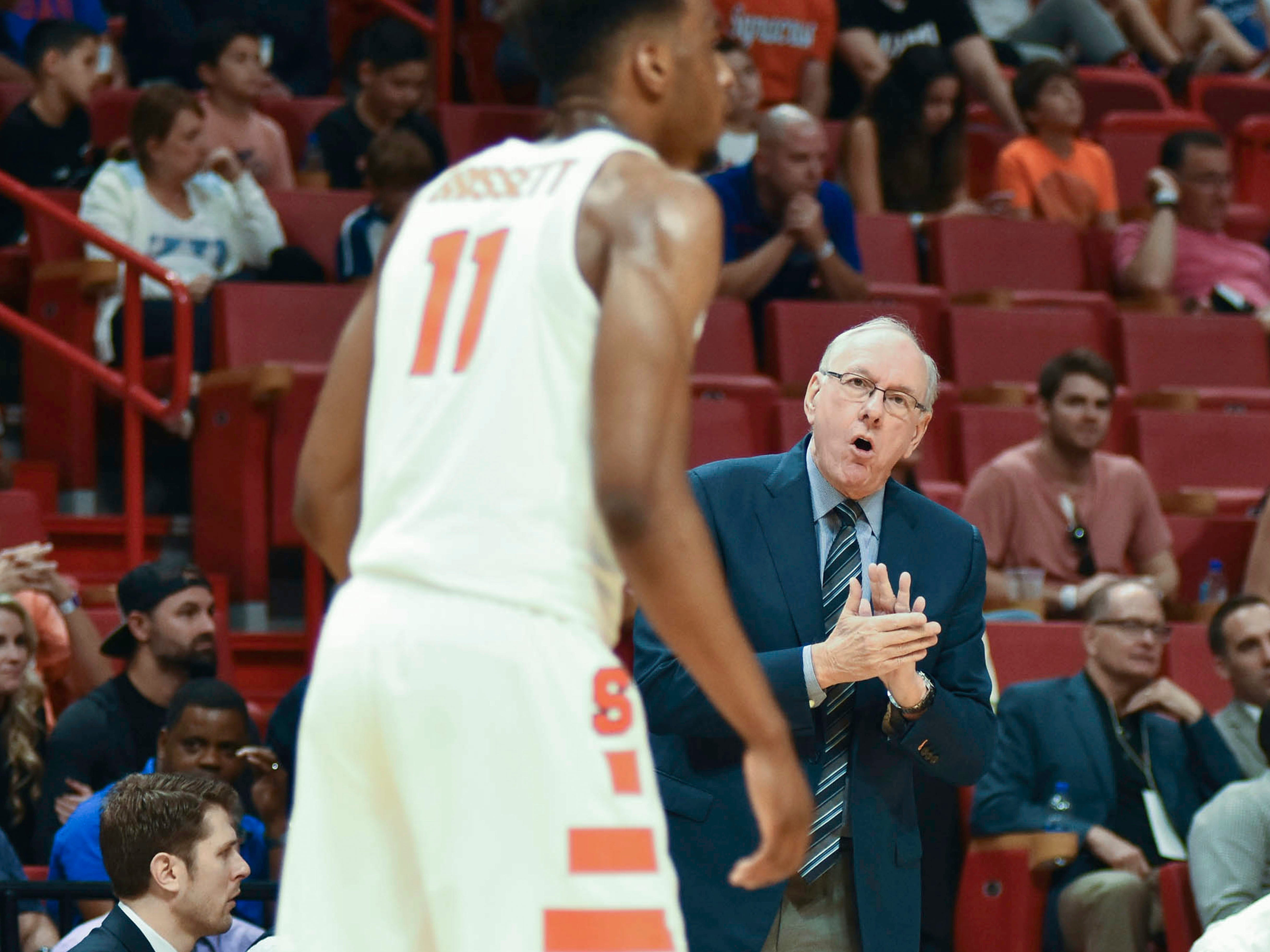 2017: Syracuse's head coach Jim Boeheim rallies his players during the first half of an NCAA college basketball game at the HoopHall Miami Invitational tournament Saturday, Dec. 2, 2017, in Miami. Kansas won 76-60. (AP Photo/Gaston De Cardenas)