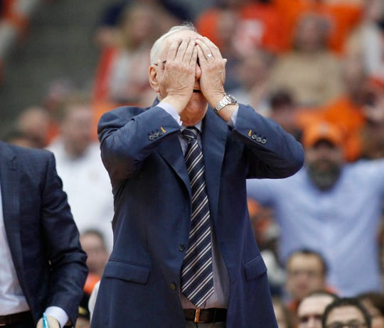 2018: Syracuse head coach Jim Boeheim reacts to a call in the second half of an NCAA college basketball game against Old Dominion in Syracuse, N.Y., Saturday, Dec. 15, 2018. Old Dominion won 68-62. (AP Photo/Nick Lisi)