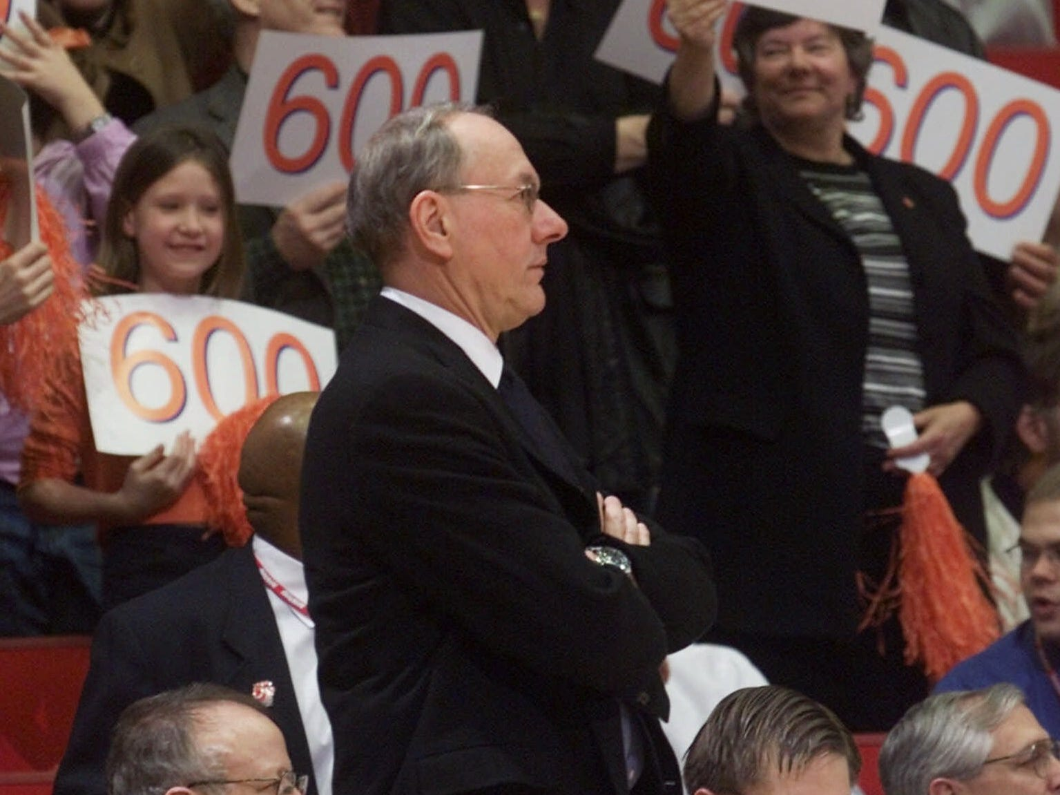 2001: Syracuse coach Jim Boeheim watches his 600th career win - a 79-69 NCAA tournament victory over Hawaii in Dayton, Ohio, Friday, March 16, 2001. (AP Photo/Al Behrman)