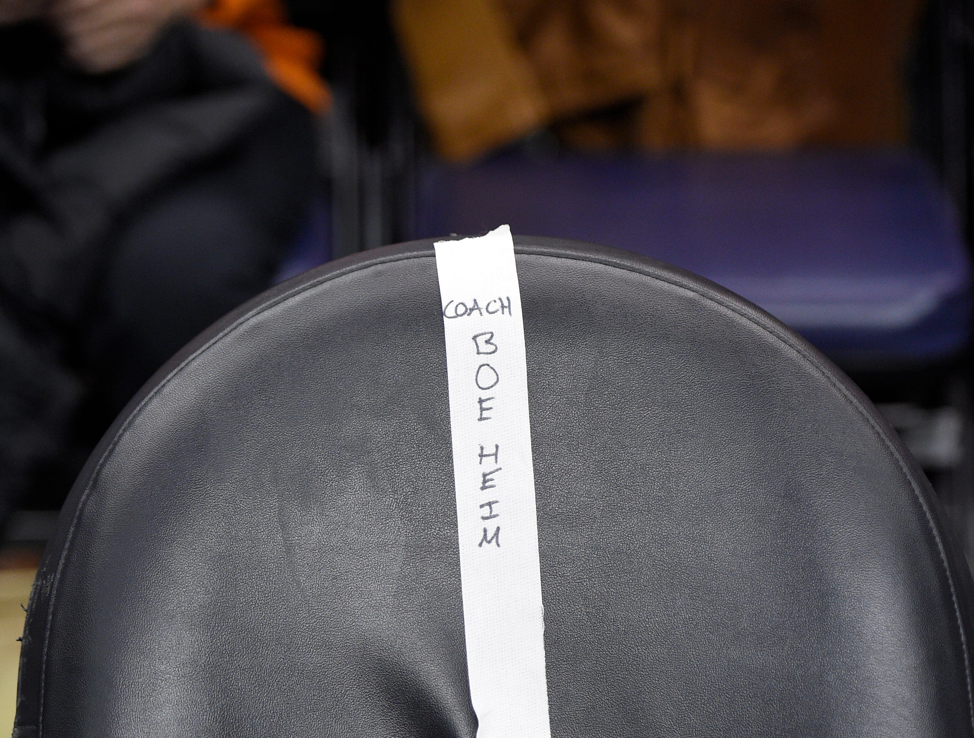 2015: A chair with Syracuse head coach Jim Boeheim's name is seen on the Syracuse sideline during the half time of an NCAA college basketball game against Georgetown, Saturday, Dec. 5, 2015, in Washington. (AP Photo/Nick Wass)