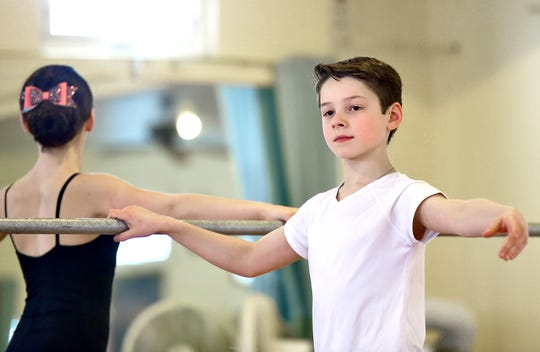 Siblings Charleigh and Richard Huxtable dance Feb. 20 under the instruction of Carolyn Wallace at The Dancer's Studio in Binghamton.